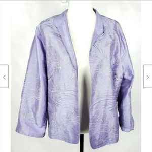 Norm Thompson Open-Front Silk Jacket L Embroidered